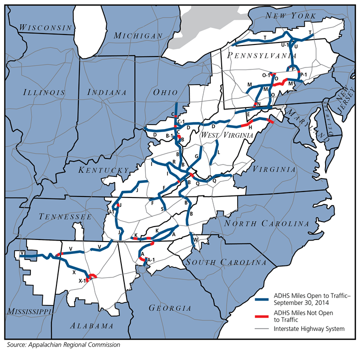 Map of the Appalachian Development Highway System, showing new roads built since the founding of the ARC.